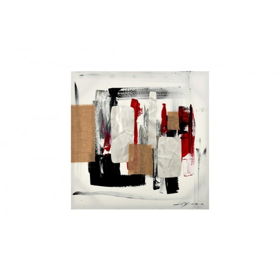 SOCADIS CADEAUX - Paintings Frame - TA5431 - ABSTRACT PAINTING METAL AND JUTE 70*70 - GALLERY