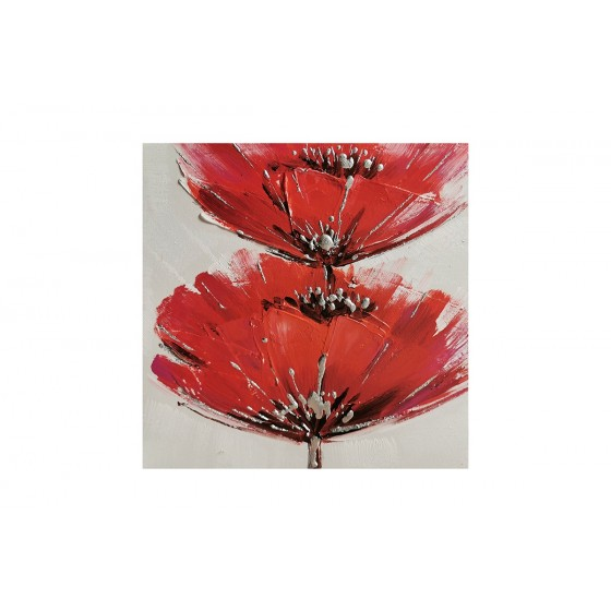 SOCADIS CADEAUX - Paintings Frame - TA5557 - SET OF 4 PAINTING WITH RED FLOWERS 30X30 - GALLERY