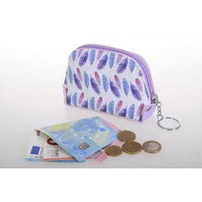 AF1011 - FEATHER DESIGN SMALL ROUND POUCH - SUNSHINE
