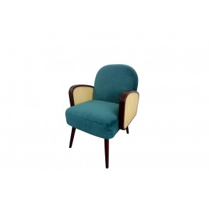AT1052 - PETROLEUM BLUE CANNING ARMCHAIR - CONFORT