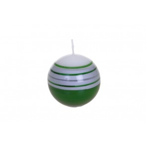 BJ3294 - GREEN STRIPED BOWL CANDLE - FLAM&CO