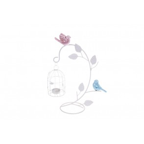 BJ3322 - CANDLE HOLDER BRANCH CAGE/ BIRDS - LYSANDRA
