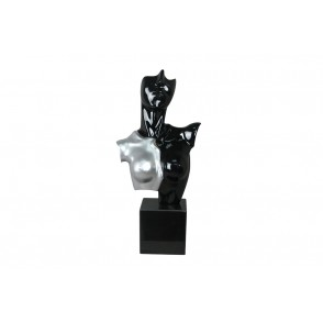 DA1719 - BLACK AND SILVER WOMAN BUST ON BASE - INITIAL
