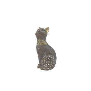 DG3185 - CAT WITH HEAD UP GREY/GOLD COLOR - OSIRIS
