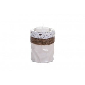 DT2456 - SMALL CYLINDER CANDLE HOLDER WHITE RELIEF - EQUINOXE