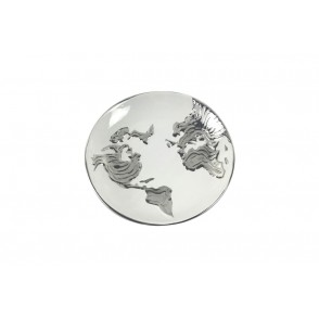 DT2571 - WORLD MAP RELIEF ROUND PLATE - EQUINOXE