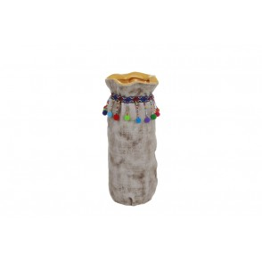 DT2665 - YELLOW FABRIC LIKE TALL VASE - CUZCO