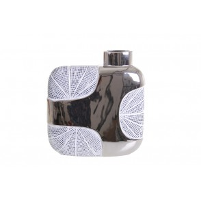 DT2697 - SQUARE RIBBED VASE WHITE/SILVER - EQUINOXE