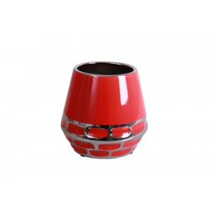 DT2748 - VASE LARGE SIZE RED SILVER - DUALITE