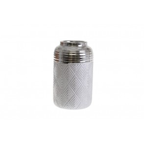 DT2795 - SILVER CYLINDRIC VASE GEOMETRIC DESIGN - EQUINOXE