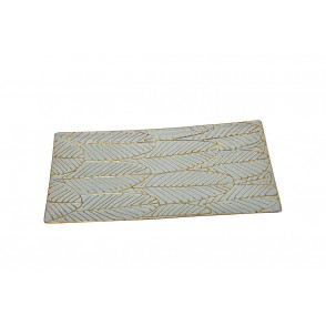 DT2811 - RECTANGLE PLATE WITH LEAF DECORATION - EQUINOXE