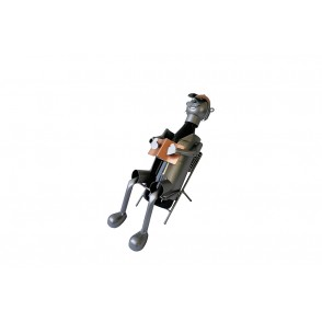 MA3739 - METAL BOTTLE HOLDER MAN ON ROCKING CHAIR - FORGERON