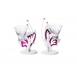 MB1390 - 2 ASSORTED PURPLE BUTTERFLY CANDLE HOLDER 1 CUP - SATELLITE