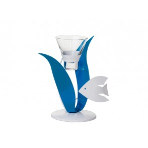 MB1398 - WHITE/BLUE SEAWEEDS FISH CANDLE HOLDER 1 CUP - SATELLITE