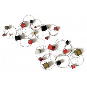 MD4491 - SET OF 2 ASSORTED CUBES/CIRCLES DECORATIONS - BEAUX-ARTS