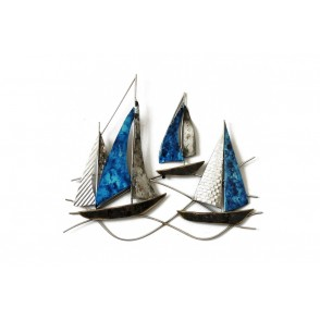 MD4615 - SMALL GREY AND DEEP BLUE RACING BOATS - BEAUX-ARTS