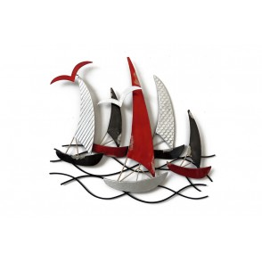 MD4616 - MEDIUM BLACK/SILVER/RED RACING BOATS - BEAUX-ARTS