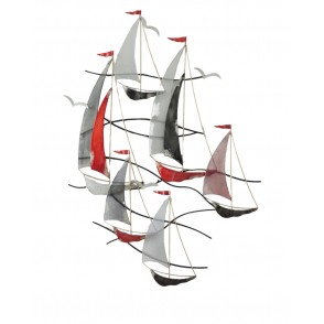 MD4841 - REGATTA 6 SAILING BOATS WITH MAT FLAGS - BEAUX-ARTS