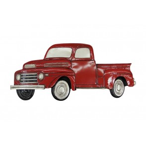 MD4913 - RED FORD TRUCK VINTAGE WALL DECO  - BEAUX-ARTS