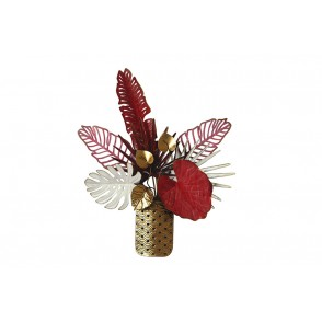 MD4985 - FOLIAGE IN GOLD / ROSE / WHITE POT - BEAUX-ARTS