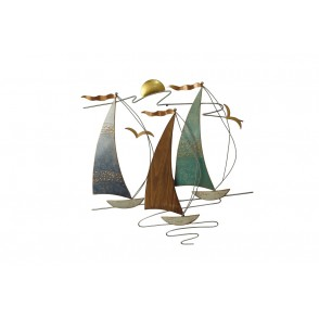 MD4994 - STRUCTURE 3 SAILBOATS IN THE WIND METAL + WOOD - BEAUX-ARTS