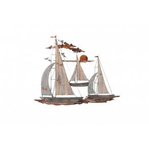 MD5007 - 3 SAILBOATS AND SUNSET METAL + WOOD - BEAUX-ARTS