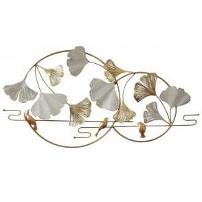 MD5021 - CIRCLES WITH GINGKO LEAVES AND BIRDS WHITE/GOLD - BEAUX-ARTS