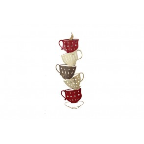 MD5033 - STACKED COFFEE CUPS GOLD/RED - BEAUX-ARTS