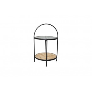 MM01386 - SIDE TABLE WITH CURVE 2 LEVELS WOOD/METAL - STONER
