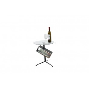MM01388 - SIDE TABLE MAGAZINES GLASS/METAL - STAX