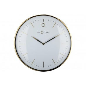 NT_3235WI - WALL CLOCK - DOME SHAPED GLASS- WHITE – 'GLAMOUR' - NEXTIME
