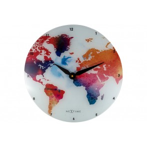 NT_8187 - NEXTIME WALL CLOCK GLASS COLORFUL WORLD - NEXTIME