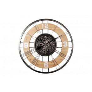 PE1860 - CLOCK WITH GEARS MECANISM WOOD/METAL - TEMPO