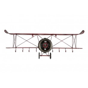 PE1866 - WALL CLOCK VINTAGE PLANE WITH SHELVES - TEMPO