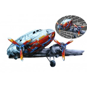 SD1080 - METAL SCULPTURE PLANE RED/SILVER - PIGMENT