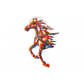 SD1100 - METAL SCULPTURE GALOPPING HORSE - PIGMENT