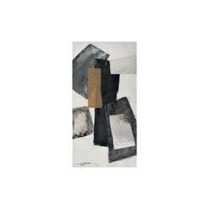 TA5430 - ABSTRACT PAINTING METAL AND JUTE 50*100 - GALLERY