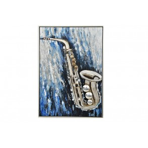 TA5483 - SAXOPHONE WITH BLUE METAL BACKGROUND 100*70 - GALLERY