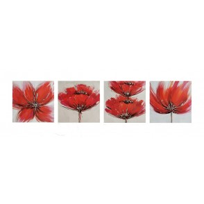 TA5557 - SET OF 4 PAINTING WITH RED FLOWERS 30X30 - GALLERY