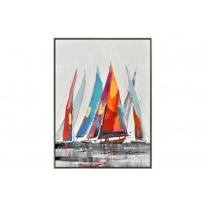 TA5563 - MULTICOLORED SAILING BOATS SILVER FRAME 80*60 - GALLERY