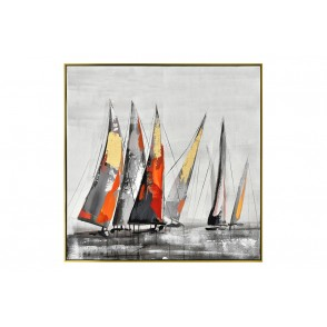 TA5564 - MULTICOLORED/GOLDEN SAILING BOATS GOLD FRAME 80*80 - GALLERY