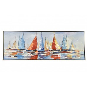 TA5588 - PAINTING MULTICOLOR SAIL BOATS 50*100 SILVER FRAME - GALLERY