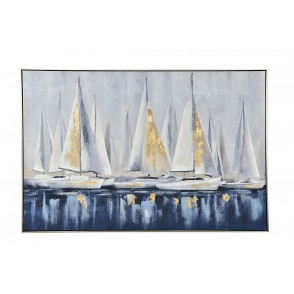 TA5602 - PAINTING SAIL BOATS BLUE/WHITE 80*120 SILVER FRAME - GALLERY