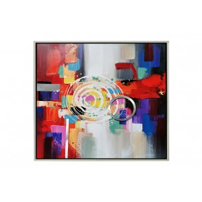 TA5611 - ABSTRACT PAINTING ALU CIRCLES 80*80 SILVER FRAME - GALLERY