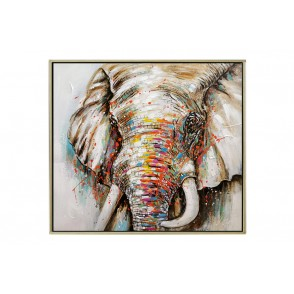 TA5612 - PAINTING ELEPHANT 80*80 CHAMPAGNE FRAME - GALLERY
