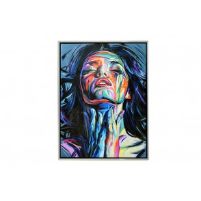 TA5624 - PAINTING WOMAN CLOSING EYES 80*60 SILVER FRAME - GALLERY