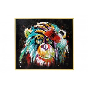 TA5625 - PAINTING MONKEY 80*80 GOLD FRAME - GALLERY