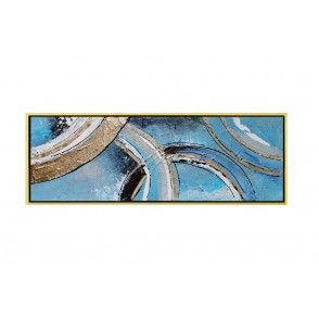 TA5630 - PAINTING ABSTRACT BLUE/GOLD 120*40 GOLD FRAME - GALLERY