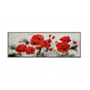 TA5631 - PAINTING RED FLOWERS 40*120 SILVER FRAME - GALLERY