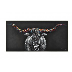 TA5664 - PAINTING BUFFALO 3D WOOD 100*50 SILVER FRAME - GALLERY